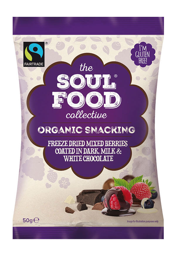 Soul Food Collective organic snack freeze dried mixed berries coated in chocolate