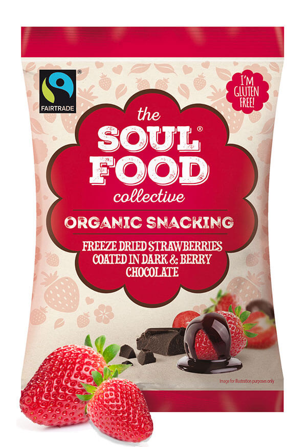 Soul Food Collective strawberries coated dark berry chocolate snack